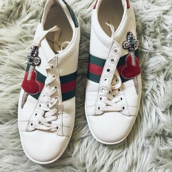 cad68013e0d Gucci Shoes - WOMEN S GUCCI White Pierced Heart Ace Sneakers
